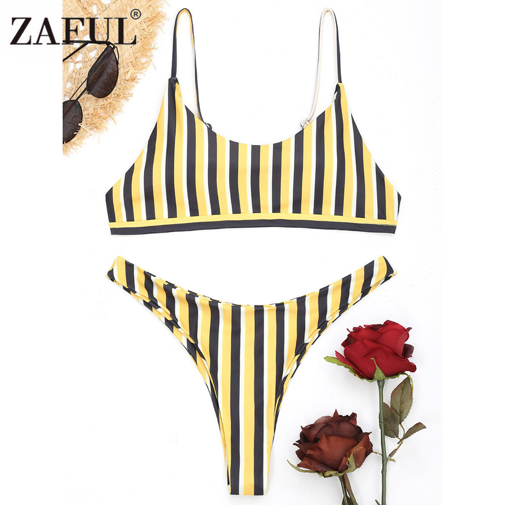 ZAFUL Striped Thong Bikini Set Push Up High Cut Sexy Brazilian Bikini Swimwear Women 2018 Bathing Suit High Leg Swimsuit Biquini ishine sexy thong bikini women swimsuit low waist bathing suit swim push up padded bikini set brazilian biquini tankini swimwea