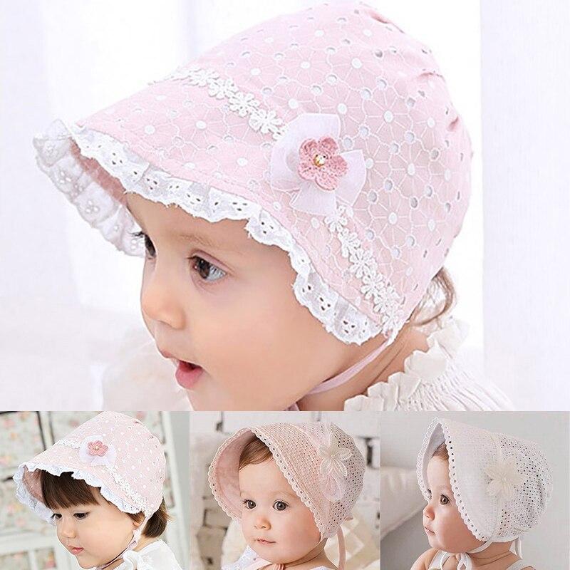 Милая Кружевная детская шапка с цветами, летняя детская шапка от солнца для девочек, цельнокроеная шапочка, хлопковая шапка на шнуровке для ...