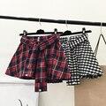Mujeres de la moda de Primavera Otoño Retro Vintage Estilo Coreano Mujeres Falda A Cuadros de la Alta Cintura Mini Falda Círculo Skater Faldas