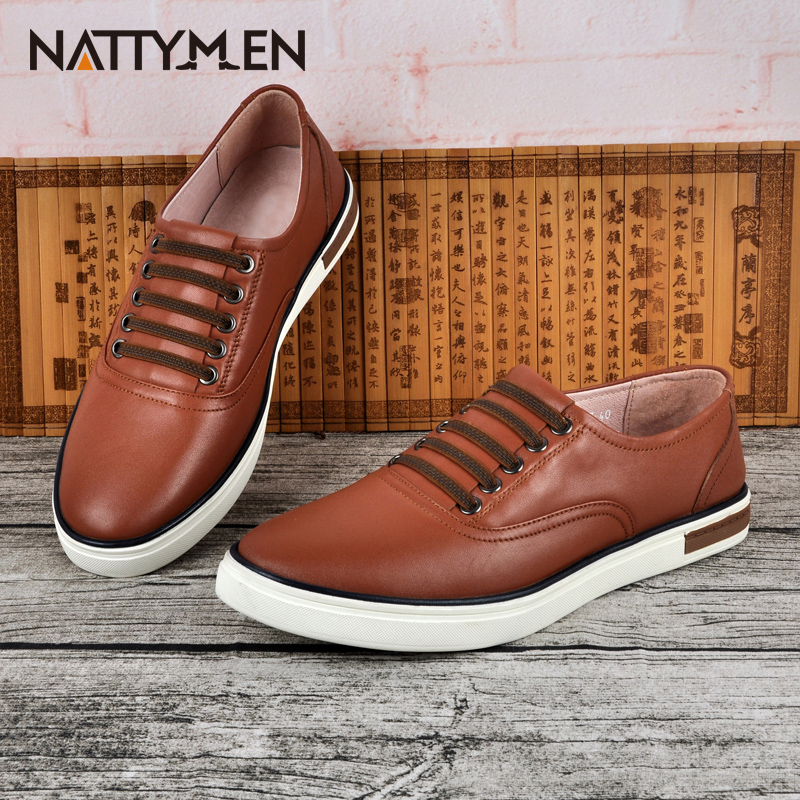 ФОТО Nattymen men's casual shoes new leather shoes autumn set foot shoes slip-on tide male shoes.
