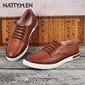 Nattymen zapatos ocasionales de los hombres nuevos zapatos de cuero del otoño establece zapatos del pie slip-on zapatos de marea macho.