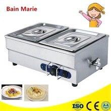 Электрический 2-пан водяной бане Еда теплые столешницы суп теплее водяной бане снэк-оборудование электрический стол водяной бане витрина