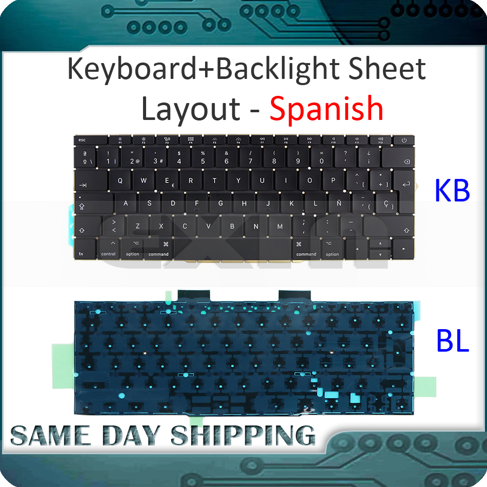 купить New A1708 Spanish Keyboard+Backlight Backlit for Macbook Pro 13.3