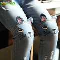 Sotida Girls Jeans 2017 Brand Spring Cartoon Cat On Knee Trousers Children's Pencil Leggings Light Blue Pantalon Fillette 2-6Y