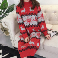 Ordifree 2018 Autumn Winter Women Knitted Dress Long Pullover Jumper Loose Print Red Christmas Sweater Dress
