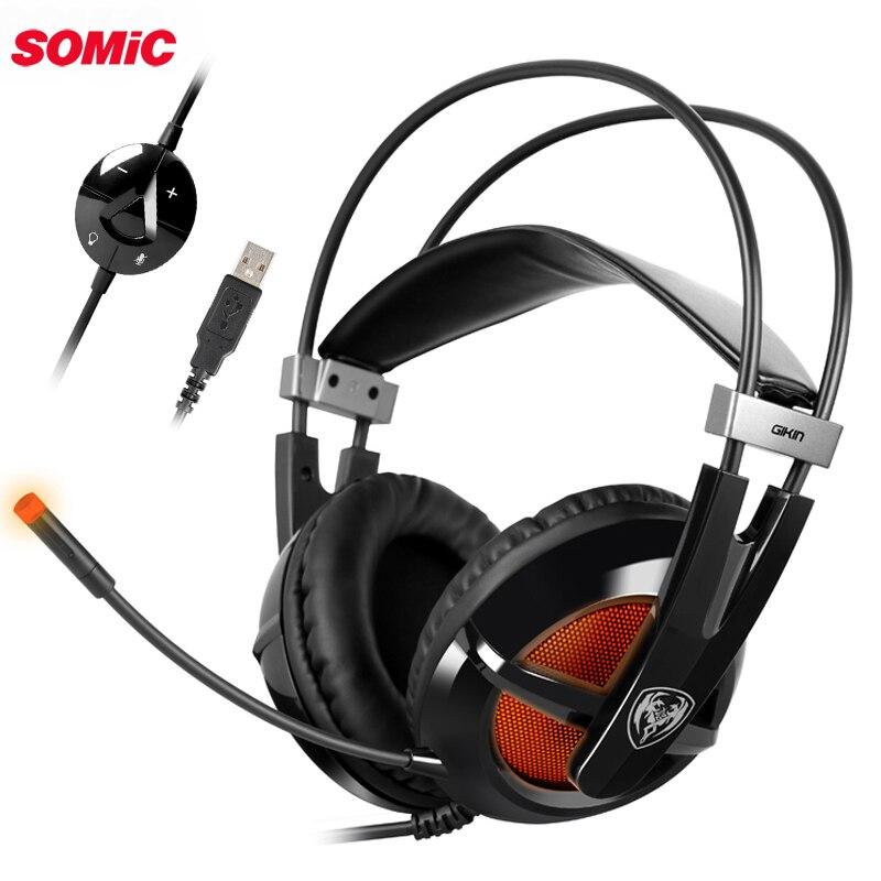Somic G938 USB virtuel 7.1 stéréo filaire casque de jeu avec microphone jeu casque sur l'oreille pour ordinateur portable gamer