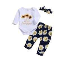 2018 Brand New Casual Style Kids Toddler Infant Baby Girl Outfits Clothes Long Sleeve T-shirt Romper Dress Long Pants 3Pcs Set(China)