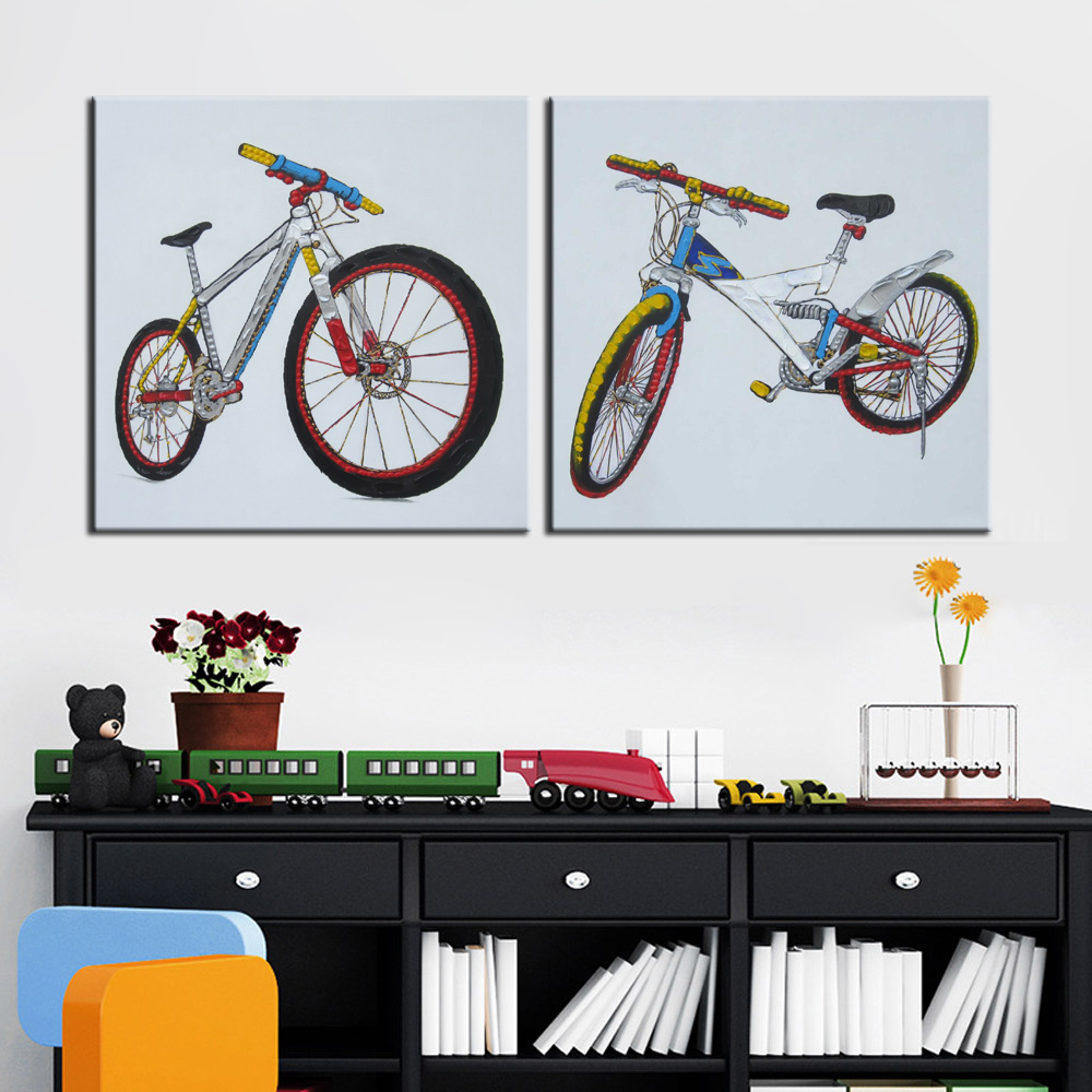 Modern Abstract Canvas Painting Posters and Prints Wall Art Colored Drawing Sports Bike Pictures for Living Room Home Decoration