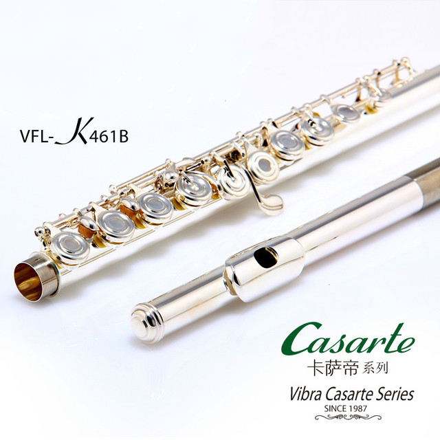 High Quality Professional C Tone 17 Hole Open VIBRA VFL-461B Flute Silver Plated Professional Concert Instrument With Case E key