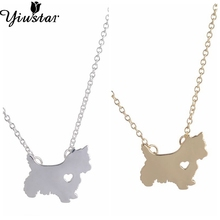 Yiustar Fashion Cute Westie  Pendant Necklaces Puppy Heart Dog Lover Memorial Pet Necklaces & Pendants Women Birthday Gift XL204