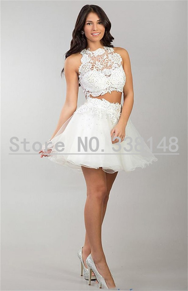 1ffc5c14271ce WHITE LACE 2 pieces high collar sleeveless crop top mini ball gown cocktail  dresses for wedding party vestidos de coctel-in Cocktail Dresses from  Weddings ...