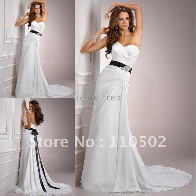 Free shipping white sweetheart wedding dress and empire for Wedding dress free shipping