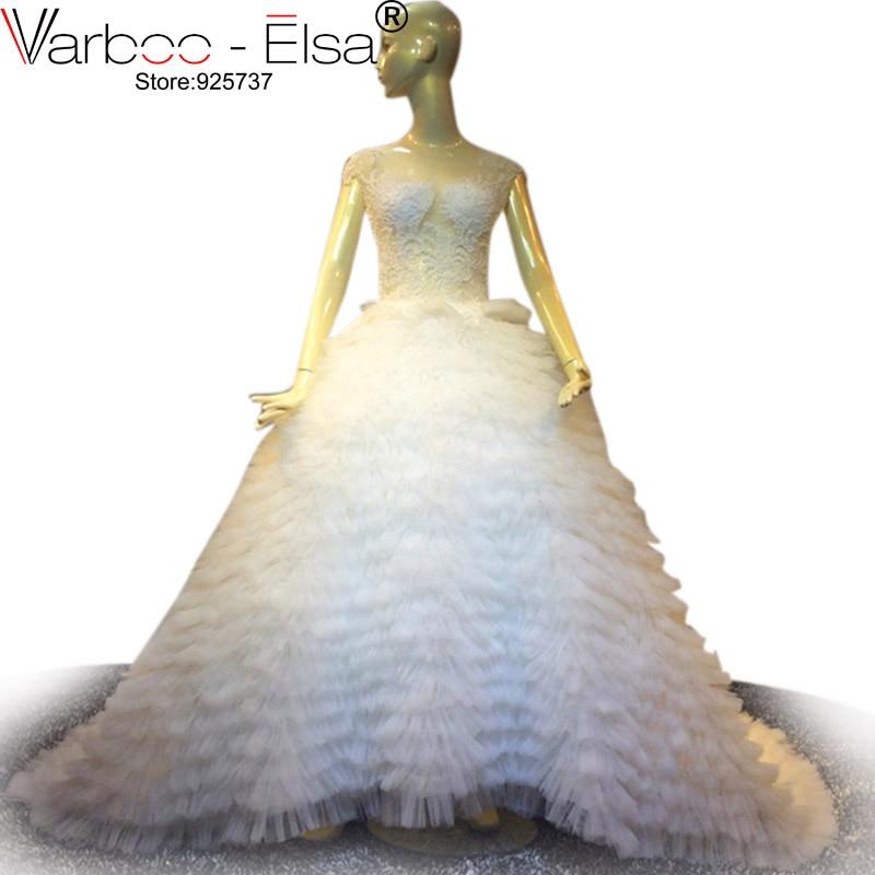 VARBOO_ELSA Dubai Beaded Luxury White Wedding Dress Tulle Short Sleeve Court Train Bridal Gown Custom Made 2017 vestido de noiva
