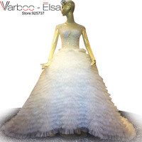 VARBOO_ELSA Dubai Perlen Luxus-weiße Hochzeits-kleid Tulle Kurzarm Gericht Zug Brautkleid Nach Maß 2017 vestido de noiva
