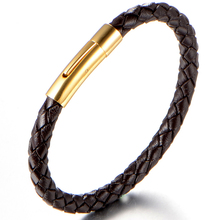 VB388 Men Jewelry Stainless Steel 100% Allergy Free Men Genuine Leather Cord Bracelets for Man Wristband Rope Bracelet Braided