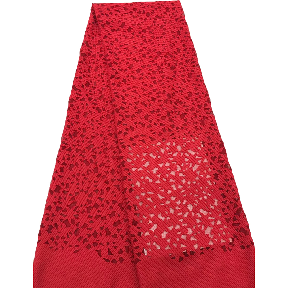 Red Mesh French Lace Fabric Net Lace African Cotton Embroidery Lace Fabric For Dress Nigerian Lace Fabric S093