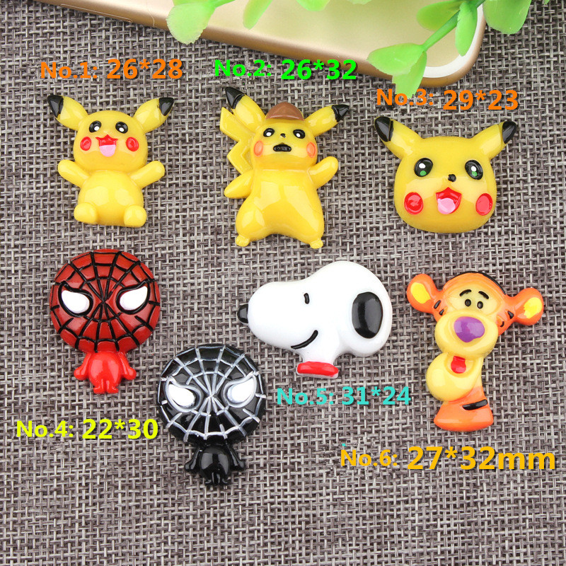10Pcs/lot Cartoon Pikachu Spiderman Flatback Flat Back Resin Cabochon For Hair Bow Center DIY Scrapbooking Phone Case Deco Parts