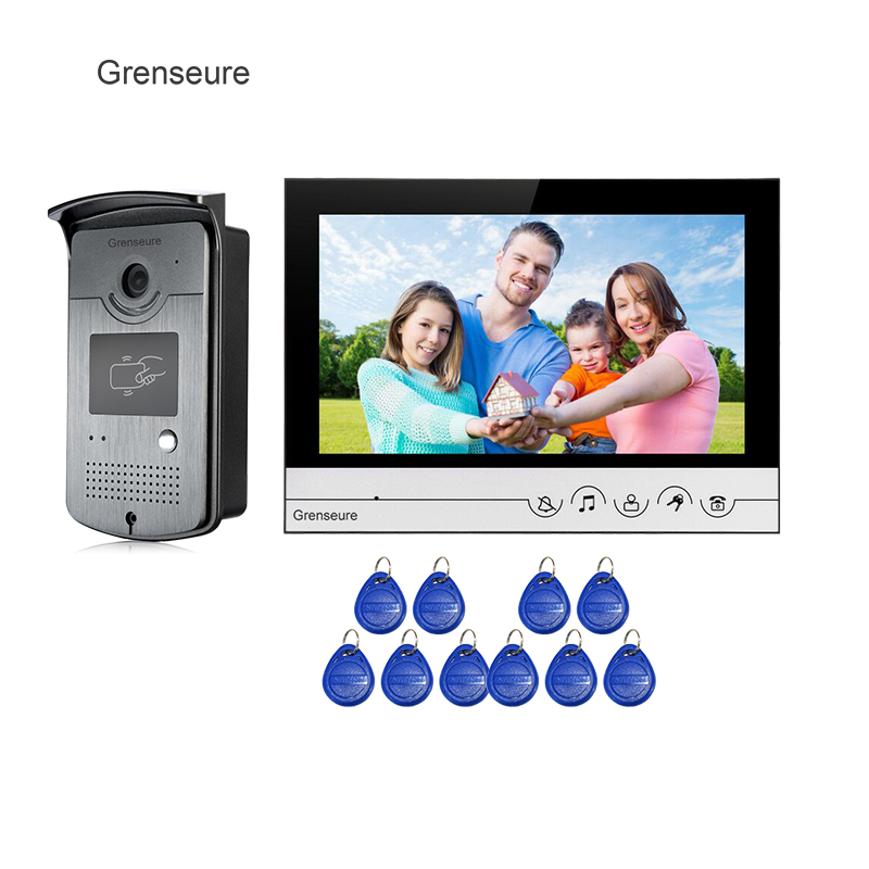 Free Shipping NEW 9 Color Screen Video Door Phone Intercom System Silver LCD Monitor + Waterproof RFID Access Doorbell Camera free shipping n116bge e32 n116bge ea2 n116bge e42 n116bge eb2 lcd b116xtn01 0 screen edp lcd monitor