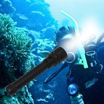 Underwater spearfishing light diving flashlight dive torch  XM-L2 LED Waterproof lanterna + 18650 PCB battery + charger xm l2 led diving flashlight torch waterproof underwater 100m with 3 18650 battery dc rechargeable dive white light lamp torch