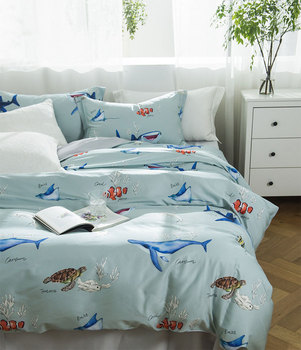 modern blue sea fish bedding set teen man boy,full queen king 60s cotton double home textile bed sheet pillow case quilt cover