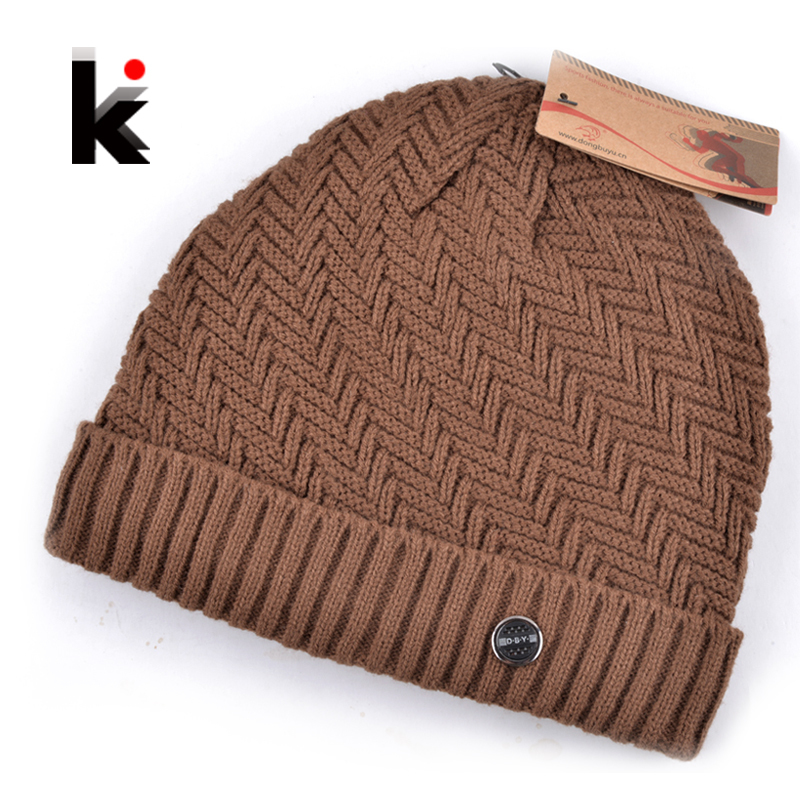 88758a80ac Details about 2018 winter beanie knitted wool hat plus velvet cap Thicker mens  hats beanies
