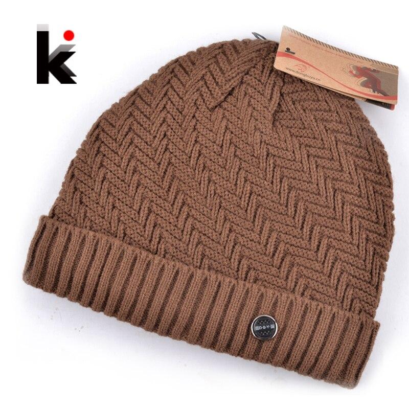 2018 зимова шапочка трикотажна вовняна капелюх плюс оксамитова шапка Більш товсті чоловічі капелюхи для чоловіків капелюшок 5 кольорів