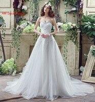 ארוך קו שמלות חתונה מתוק מחשוף חרוזים Rhinestones טול מפלגת שמלות הכלה Fairytale נסיכת שמלה
