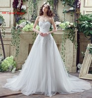 Long A Line Wedding Dresses Sweetheart Neckline Beaded Rhinestones Tulle Bridal Party Gowns Fairytale Princess Dress