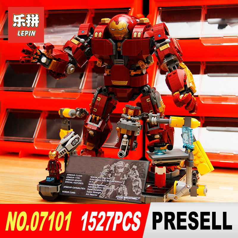 LEPIN 07101 Super Heroed 1527Pcs Iron Man Anti Hulk Mech Toy Building Bricks Blocks Model Compatible with 76105  for Children compatible with lego marvel lepin 38005 328pcs super heroes movie iron man ironman mech building blocks bricks toys for children