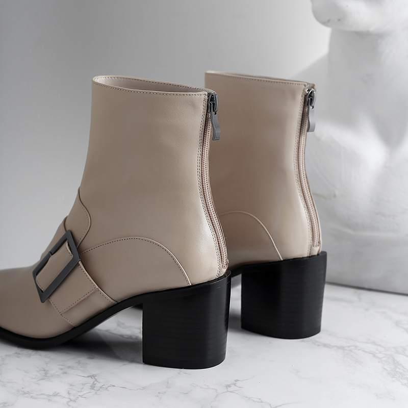 Bout Cheville Boucle D'hiver Superstar Carré Grande Talon Chaussures brown Cuir Bottes Zipper noir Moto En Apricot 2018 L27 Taille Véritable OPcIxqBww