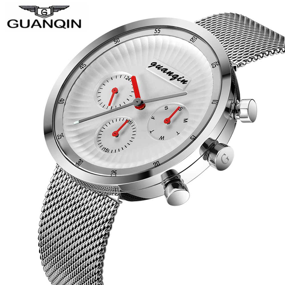 Men Quartz Wrist Watch Relogio Masculino GUANQIN Top Brand Luxury Watches Men Full Steel Mesh Strap Sport Waterproof Wrist Watch 2017 new top fashion time limited relogio masculino mans watches sale sport watch blacl waterproof case quartz man wristwatches