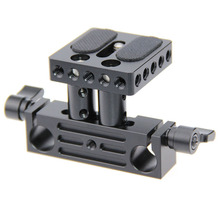 CAMVATE 1/4 Inch Screw Quick Release Plate 15mm Rail Rod Support System Mount Fr Follow Focus Rig DSLR Camera Baseplate C1237