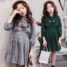 ede03a60ad1619 Kinder Kleider Für Mädchen Teenager 2018 Herbst Baby Mädchen Kleidung Lang  Hülse Schule Elegante Kleid 9