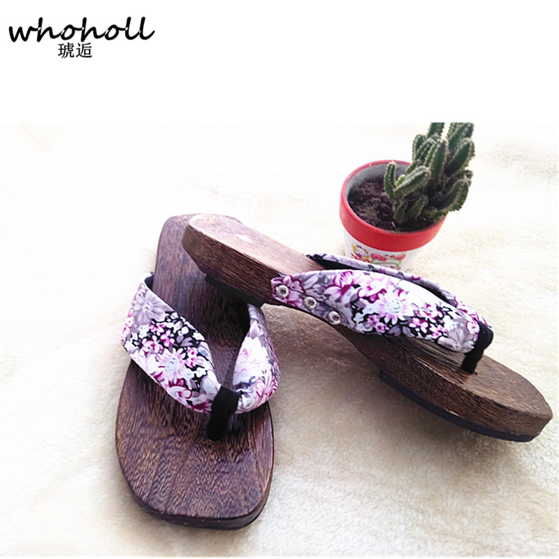 WHOHOLL Geta women flat sandals Japanese Wooden geta floral printed clogs shoes for women flip-flops slippers,indoor home slides цены