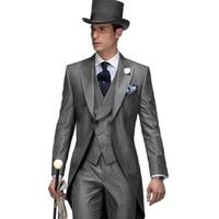 熱い販売グレーイタリアメンズ燕尾服結婚式スーツ用男