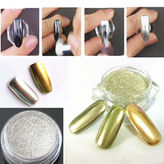 1 caja oro plata nail Glitter powder shinning espejo sombra de ojos ...