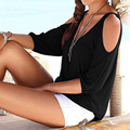 Женщины Топы и Блузки 2016 Новая Мода Sexy V-образным Вырезом С Плеча Блузка Рубашки Плюс Размер Твердых Холодный Blusa Femininas