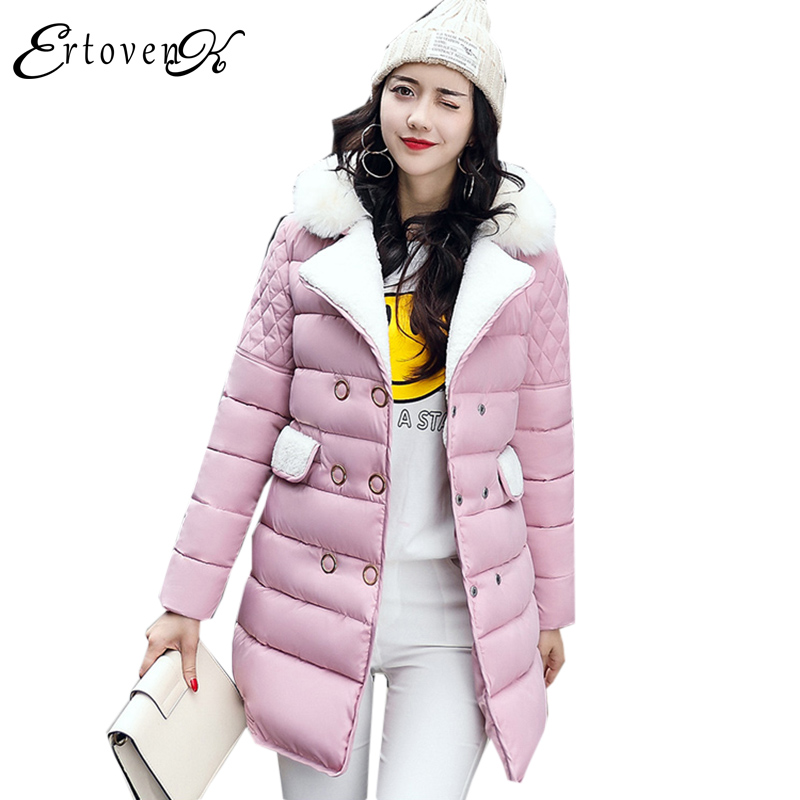 Fur collar Cotton Coat Long Sleeves 2017New Winter Top Women Fashion Jacket Plus Size Clothes Long Section Charm OuterwearLH120 2017 new winter women winter women in the long section of thick cotton coat fur collar jacket cold winter jacket size m xxl