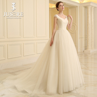JUSERE Simple Satin Bodice Tulle Skirt Puffy A line Bead Cap Sleevse V neck Bead Belt Small Crystal Beading Wedding Dress 2018