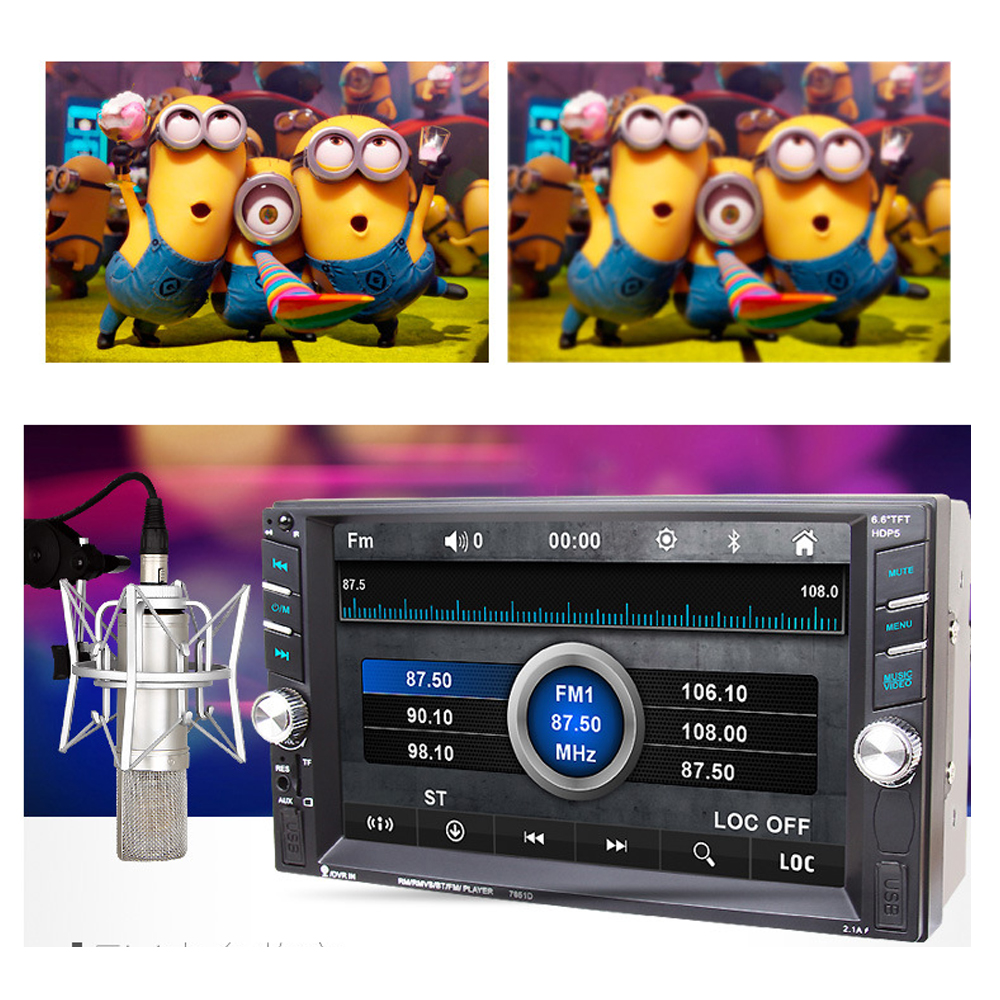 6.6 inch HD 7651D 2 Din MP5 MP4 Player Touch screen Car FM Radio stereo Bluetooth support rear camera 2 USB port FM 4022d car radio mp4 player with rear view camera 4 1 inch car mp3 mp5 player bluetooth fm transmitter stereo audio for music