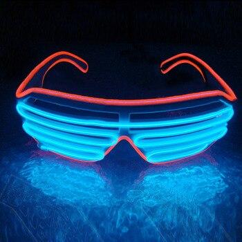 647b4a13a2 LED gafas de sol EL intermitente de luz luminosa Neon gafas de fiesta  trajes iluminación decorativa