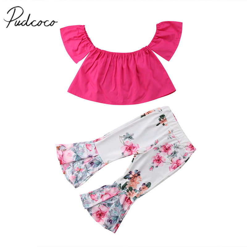 e3647c906875a 2018 Brand New Toddler Infant Casual Kid Baby Girl Off Shoulder Top T-shirt  Bell Bottom Flare Pants 2Pcs Set Outfit Clothes 2-7T ~ Hot Deal July 2019