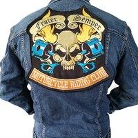 De gran tamaño de la motocicleta punky esqueleto bordado biker patch para copias De Chaqueta biker placa, cráneo parche Accesorio de la Ropa Venta