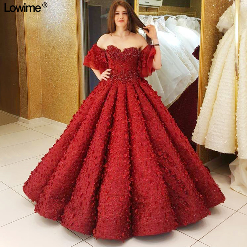 Red Pink Flowers Lace Ball Gown Dubai Quinceanera Dresses Abaya