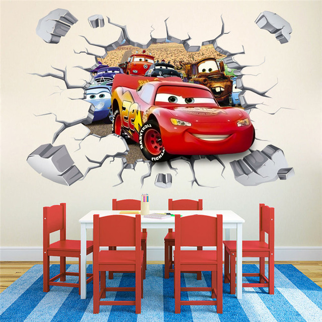 3D Kawaii Removable Cars Wall Stickers