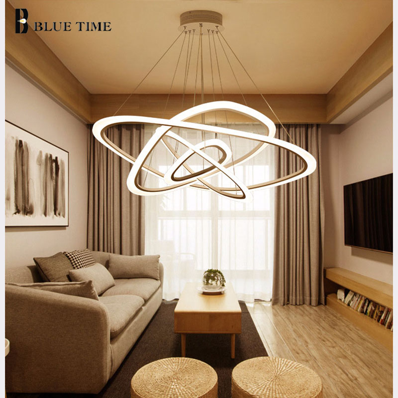 BLUE TIME New Modern pendant lights for living room dining room 4/3/2/1 Circle Rings acrylic LED Lighting ceiling Lamp fixtures new circle rings modern led pendant lights for living room bedroom 5 4 3 2 tiers led pendant lamp fashion home lighting fixtures