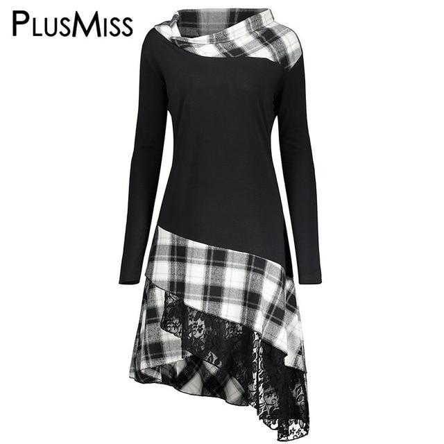 e1dc95d37ec PlusMiss Plus Size 5XL Vintage Lace Plaid Panel Tunic Long Top Women Autumn  2017 Long Sleeve Asymmetrical Blouse Shirt Big Size-in Blouses   Shirts  from ...