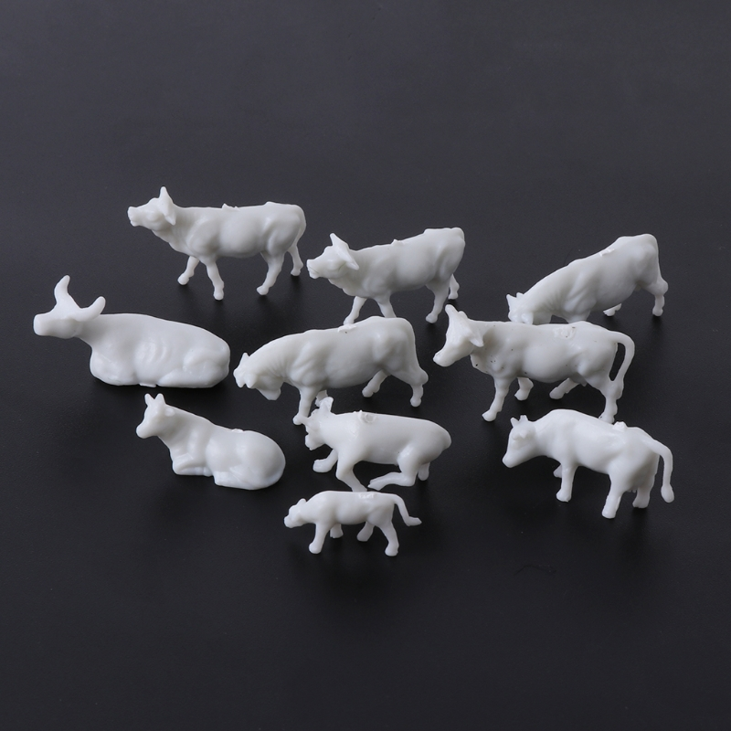 New 10pcs 1:87 Model kits Diy HO Scale White Cow Model Train Layout Model Building Toys Resin Figure Animal Toys for Children