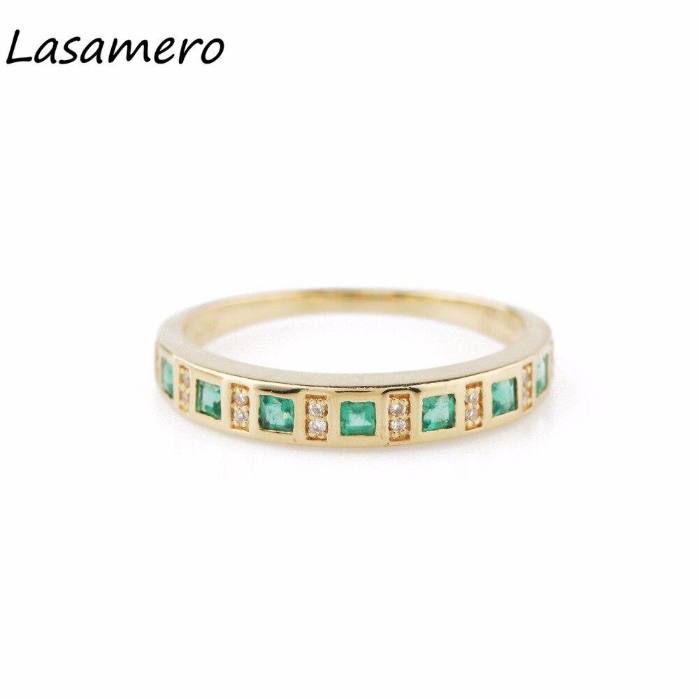 LASAMERO princesa corte 0.24CTW piedra preciosa Esmeralda Natural diamante acentos Art Deco 18k oro amarillo Vintage anillo de compromiso de boda