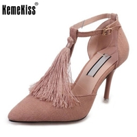 Women New Thin High Heels Sandals Pointed Toe Tassel Ankle Strap Summer Shoes Women For Party